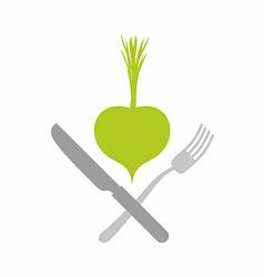 Logo for vegetarian restaurants or cafes Green vector image vector image
