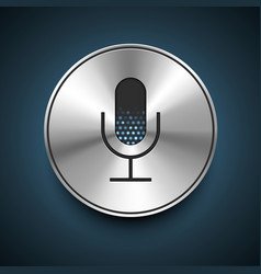 Microphone icon on metallic background vector