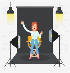 Photostudio girl sitting vector