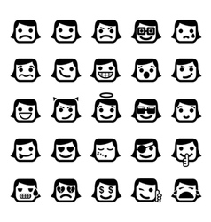 set of 25 smiley faces vector image vector image