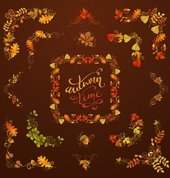 Set of autumn leaves design elements vector