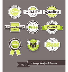 Set of green labels on grey background vector image