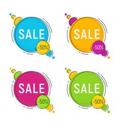 set of minimal style flat trendy bubble shaped vector image