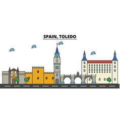 spain toledo city skyline architecture vector image