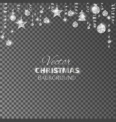 Sparkling christmas glitter ornaments silver vector