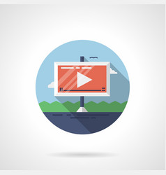 video ads on road flat round icon vector image vector image