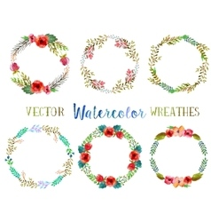 Watercolor wreathes vector