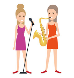 women singing and playing saxophone vector image