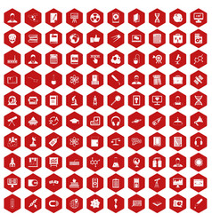 100 researcher science icons hexagon red vector