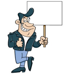 Cartoon man holding a sign vector