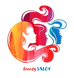 Watercolor acrylic beautiful girl silhouettes of vector