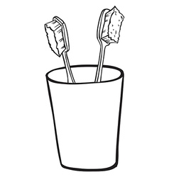 Toothbrushes inside a glass vector