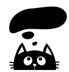 Black cat looking up to empty think talk speech vector