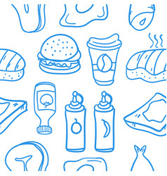 Fast food various doodles vector