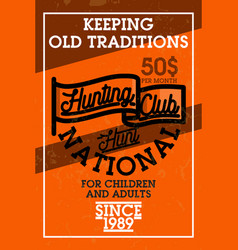 Color vintage hunting club banner vector
