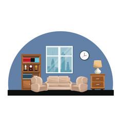Living room sofa armchair clock lamp small table vector