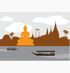 Thailand landmark and travel vector