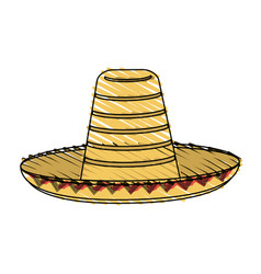 color crayon stripe mexican hat accesory costume vector image