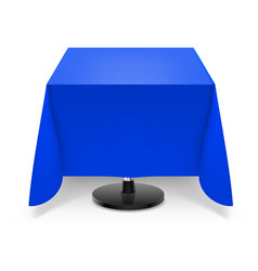 Square dining table with blue tablecloth and vector