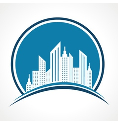 Abstract blue real estate icon design vector