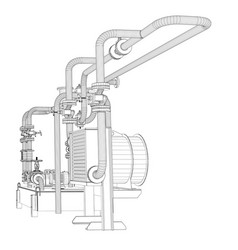 Wire-frame industrial equipment of oil pump vector