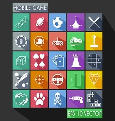 Mobile game flat icon long shadow vector