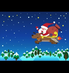 Santa claus with jet reindeer christmas vector