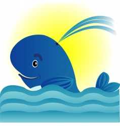 Whale in turn blue sea vector
