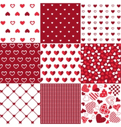 Seamless patterns Valentines Day vector image