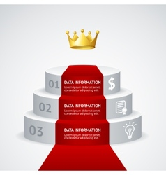 Infografic podium with red carpet vector