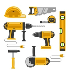 Construction tools flat icons vector