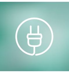 Electrical plug thin line icon vector image