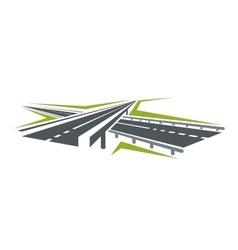 Highway pass under overpass icon vector