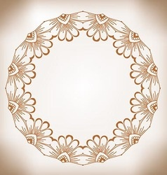 Hand-drawn cute round floral frame vintage frame vector
