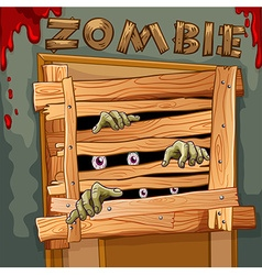 Zombie behind the wooden door vector