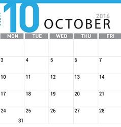 Planning calendar october 2016 vector