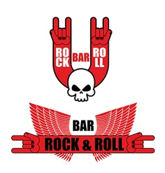 Set of logos for rock and roll bar hand rock sign vector
