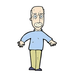 Comic cartoon annoyed old man vector