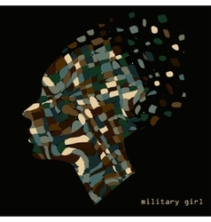 Camouflage military abstract woman portrait vector
