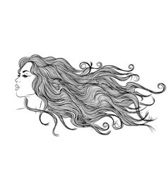 Long hair girl profile outline monochrome drawing vector