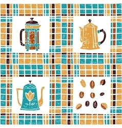 Seamless pattern coffee pots and plaid vector