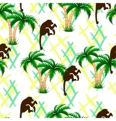 Palm trees monkeys seamless vector
