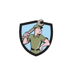 Mechanic wielding spanner crest cartoon vector