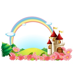 A castle with blooming flowers vector