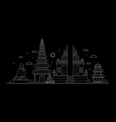 bali thin line art vector image