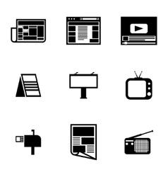 black advertisement icons set vector image