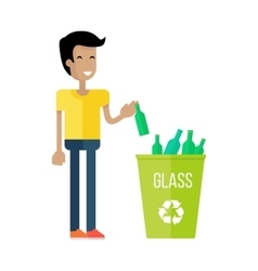 Boy throw the bottle into the container with glass vector