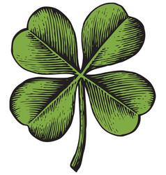 clover with four leaf - vintage engraved vector image