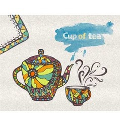 decorative sketch of cup of coffee vector image