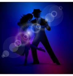design with couple dancing tango on dark backgroun vector image